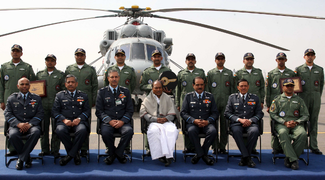 The Defence Minister, Shri A. K. Antony inducted the Multi-Purpose MI-17 V5 Helicopter into the Indian Air Force, at a function, in New Delhi on February 17, 2012. Air Chief Marshal N.A.K. Browne is also seen.