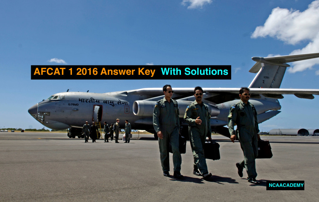 AFCAT 1 2016 Answer key