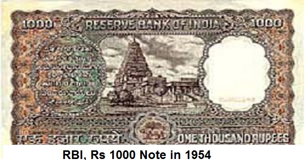 1954, 1000 rs note