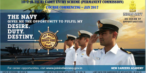 10+2 (B.TECH) CADET ENTRY SCHEME (PERMANENT COMMISSION)COURSE COMMENCING –JAN 2017