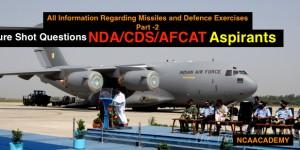 Sure Shot QUESTIONS FOR NDA/CDS/AFCAT PAPER Regarding Defence Part-2